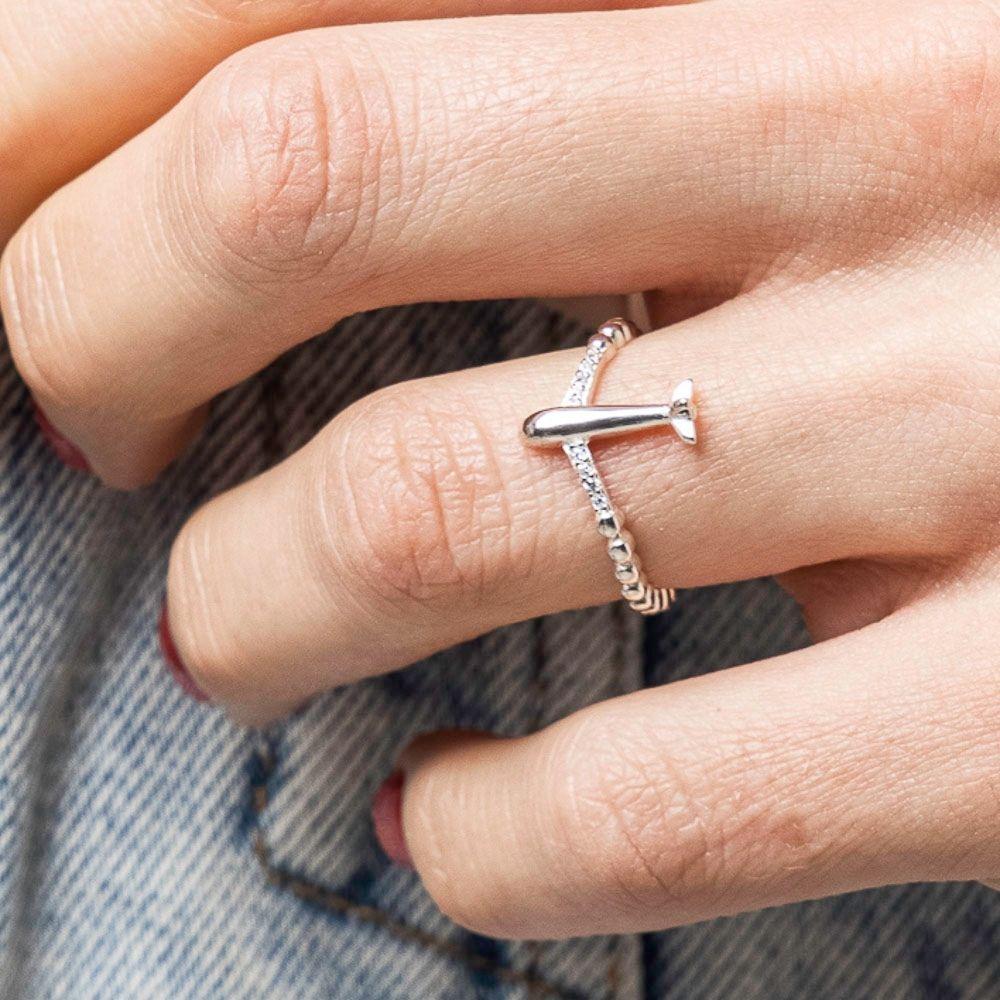 anello in argento 925 con aereo