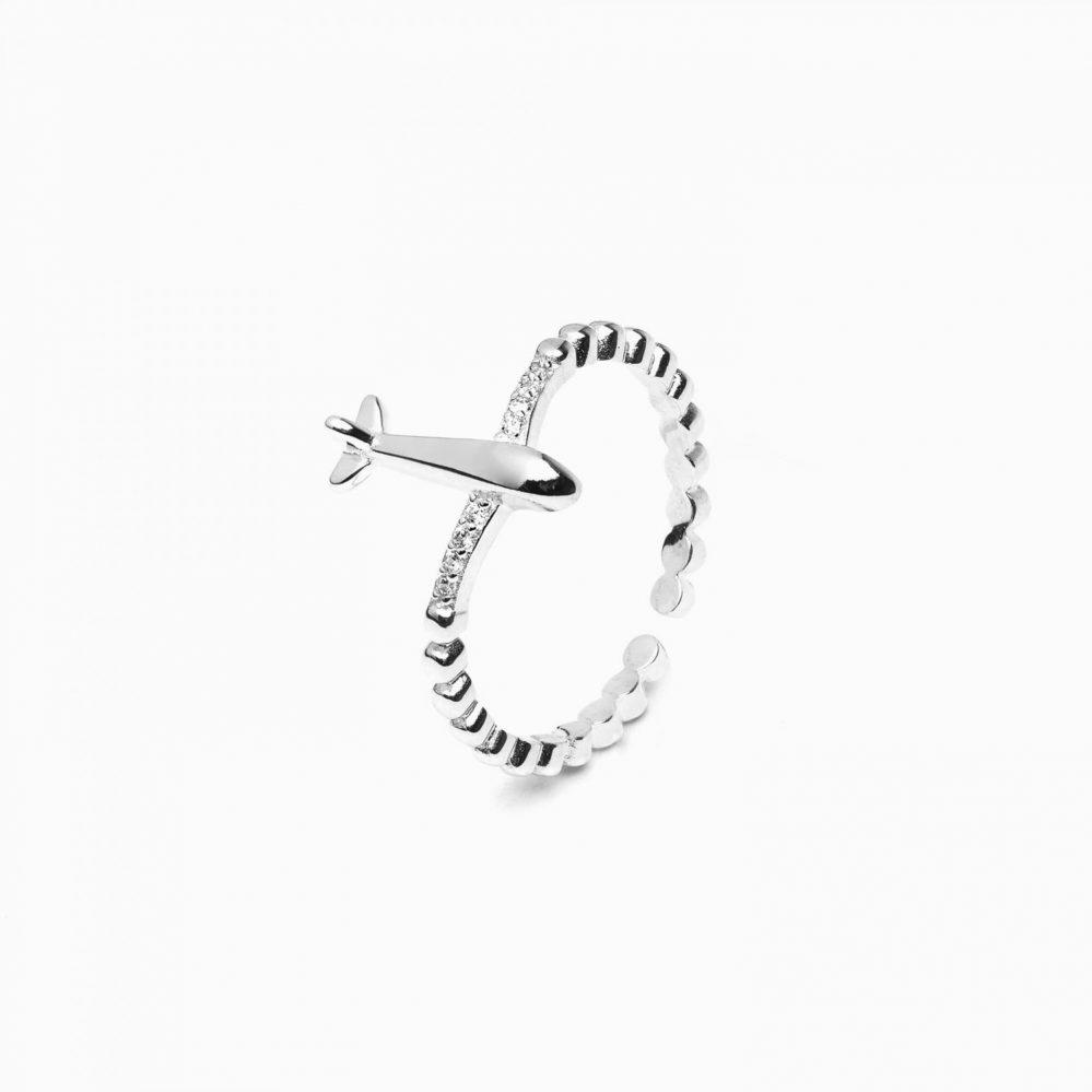 anello aereo argento 925 con zirconi