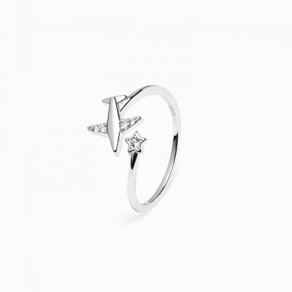 anello con aereo in argento 925