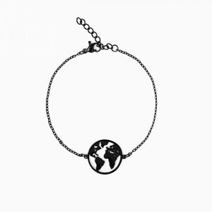 braccialetto in acciaio con mappamondo nero